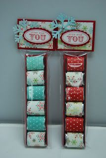 Hershey nugget favors, wrapped in scrapbook papers, in pretzel bags