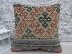 nomadic pillow kilim lumbar pillow 16 x 16 made of vintage kilim rug cushion embroidery design turkey pillow aztec pillow wool pillow cover