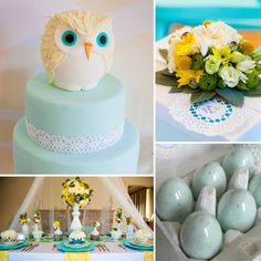 owl-themed baby shower with baby blue and yellow accents.