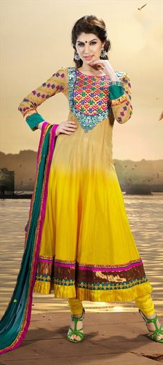 Designer Embroidered Anarkali Dress Material - You Look So Charming Wearing This Attire. Create A Smoldering Impact By This Yellow Chiffon & Net Salwar Kameez. This Attire Is Encrafted With Mirror, Resham & Stones Work. Salwar Dress, Salwar Kameez, Anarkali Suits, Churidar, Asian Wedding Dress, New Designer Dresses, Long Anarkali, Desi Clothes, Pakistani Bridal