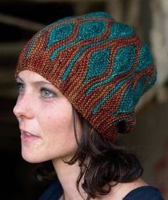 Knitting Pattern for Toph Slouchy Beanie Knit Flat - Featuring short row colorwork, this hat is knit sideways flat on straight needles and grafted.. Designed by Woolly Wormhead.