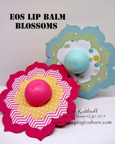 Decorated EOS Lip Balms for Easter or Mother's Day with the How To Video, Stamping to Share, Kay Kalthoff, Floral Frames Framelits, Circles Collection Framelits, Gift Idea, Stampin' Up!