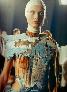 Backstage at Alexander McQueen Spring/Summer 2001.