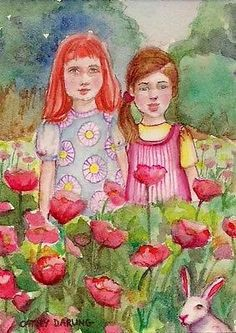 ACEO+PURE+ART+CARD+GARDEN+GIRL+ORIGINAL+MINI+MINATURE+PAINTING+EBSQ+DARLING
