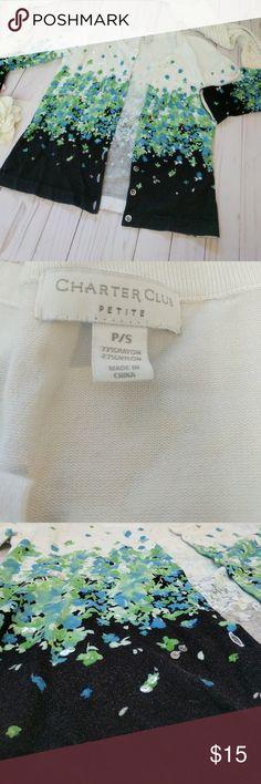 "Charter Club cardigan blue green Floral Charter Club cardigan blue green Floral. Chest 36"" H Charter Club Sweaters Cardigans"