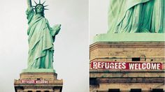 'Refugees Welcome' banner unfurled on Statue of Liberty Boycott Hollywood, Welcome Banner, Sign Company, Wild Wolf, Let Freedom Ring, The More You Know, Dark Ages, Bedtime Stories, Our World