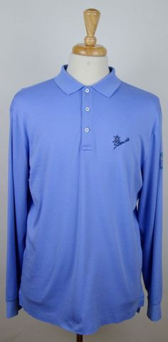 Men's Polo Golf Baby Blue Southern Hills First Tee Long Sleeve Polo Large Shirt #PoloGolf #PoloRugby
