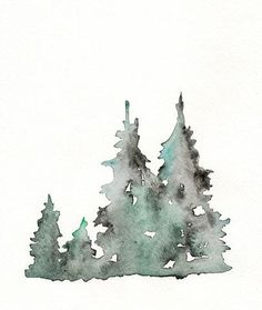 Winter's Edge / Winter Trees / Watercolor Print