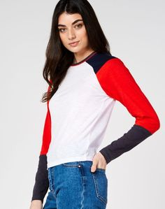 Colour Block Long Sleeve Top, MULTI