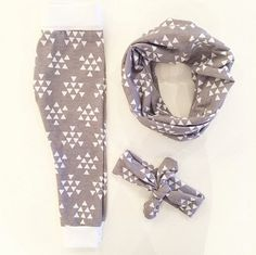 Grey and White Triangle Leggings, Headband, Infinity Scarf, Slouchy Beanie - Made in California - Baby, Infant, Child, Toddler, Adult