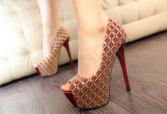 Fashion Women's Peep Toed Shoes With Mesh and Sexy High Heel Design (WINE RED,39) | Sammydress.com