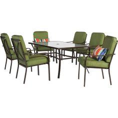 Mainstays Crossman 7-Piece Patio Dining Set, Green, Seats 6: Patio Furniture : Walmart.com $399