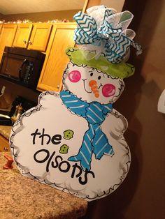 decorative door hangers | Snowman Door Hanger Christmas Decor Winter Wood Wreath Customized ...