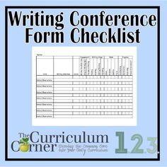 Checklist Format Writing Conference Form