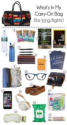 Tips for what to pack in your carry-on bag on an international flight. packing list #traveltips