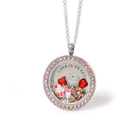 Love is very sweet this coming Valentine's Day! Especially with our brand new Milkshake, Donut, and Cupcake Charms! Do you see something else special in this Locket? It's our amazing new Pavé Heart Charm. This Charm features 30 Swarovski Crystals!