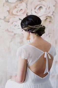 Unique Simple Bridal Headpiece Draped V Wedding Headband by danani