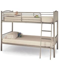 Serene Furnishings Oslo 3ft Twin Bunk Bed Silver.The bunk beds are supplied with a wide step ladder for comfort and safety. Features Sprung slat base Requires a standard UK mattress measuring 90 x 190cmDimensions Length: 98cm Width: 199.3cm H http://www.comparestoreprices.co.uk/bunk-beds/serene-furnishings-oslo-3ft-twin-bunk-bed.asp