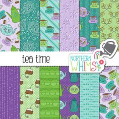 """Tea Party Digital Paper - """"Tea Time' - seamless teacup and teapot patterns in…"""
