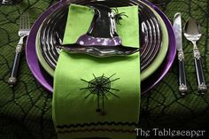 Green Purple & Black Halloween Place Setting