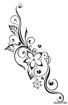 "Download the royalty-free vector ""Ranke, flora, Blumen, Blüten, Laub, Blätter, black"" designed by christine krahl at the lowest price on Fotolia.com. Browse our cheap image bank online to find the perfect stock vector for your marketing projects!"
