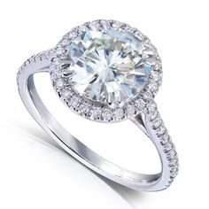 2 1/6ct TW Round Moissanite and Diamond Engagement Ring in 14k White Gold - Size 7 ** Click on the image for additional details.