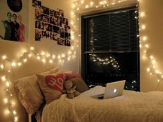 This apartment bedroom Christmas light decoration idea is super cute! Decorate your own bedroom using fairy lights. Make sure to use warm white to get this look