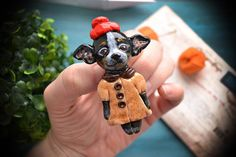 Doggie polymer clay brooch.Gift ideas.Handmade Polymer Clay