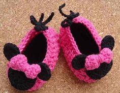 Zapato, Zapatilla Minnie Mouse Crochet Todas Las Edades