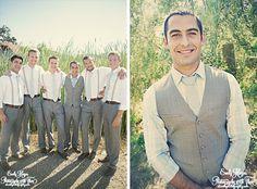 Groomsmen.. Neat idea of groom in vest and groomsmen suspenders. Also like the brown shoes/belt.
