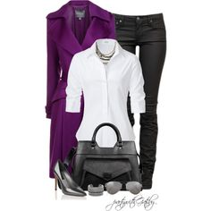 There is something sexy bout a crisp white shirt and jeans....and wow check out that deep purple coat!!!