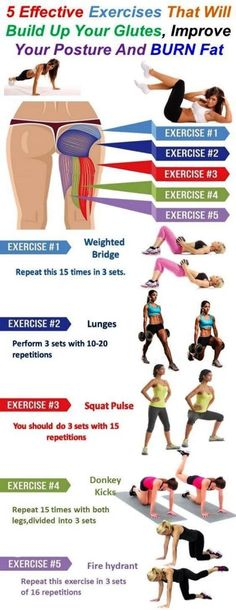 5 Effective Exercises That Will Build Up Your Glutes, BURN Fat and Improve Your Posture - Crazy Fitness Tips Beginner Workouts, Workout For Beginners, At Home Workouts, Exercise Workouts, Glute Exercises, Body Fitness, Health Fitness, Dance Fitness, Health Diet