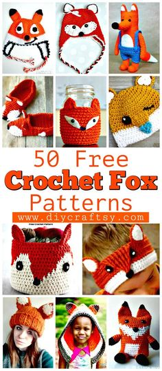 50 Free Crochet Fox Patterns - Crochet Fox Hat - DIY & Crafts