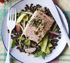 Poached salmon with courgette & lentil salad & lemon relish