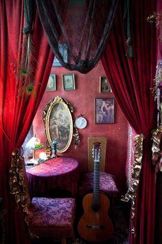 Fata's Vardo: #Gypsy style ~ Tarot room at The Sword and Rose in San Francisco, California, USA.