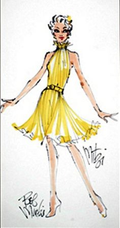 Bob mackie costume sketch for mitzi gaynor from igavelauctio Hollywood Theater, Old Hollywood Movies, Dress Sketches, Fashion Sketches, Fashion Illustrations, Fashion Art, Fashion Models, Artist Fashion, Fashion Design
