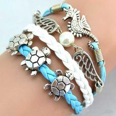 Mini Order 10usd Sea Turtle & Sea Horse & Wing 2014 New Fashion Vintage Charm Bracelet Jewelry 0108