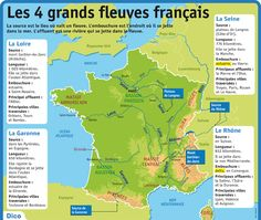 Fiche exposés : Les 4 grands fleuves français French Language Lessons, French Lessons, French Phrases, French Words, How To Speak French, Learn French, France Info, French Practice, High School French