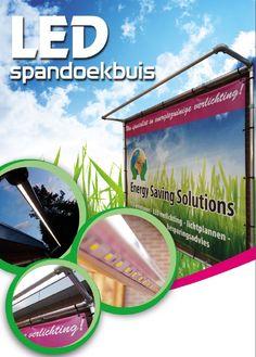 LED spandoekbuis Aluminium spandoekbuis met ingebouwde LED verlichting voor verlichten van de banner - voor 42 en 48 mm buizenframe - Vision-line