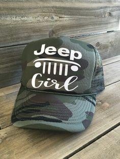 399589efa14 Jeep Girl Camo Camoflage Trucker Hat Cap by MissFancyFox on Etsy Jeep  Cherokee Accessories