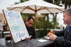 Signature Drink board at bar area... Bacara Outdoor wedding - Santa Barbara, CA staceylynndesign.com