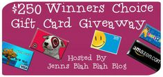 #Giveaway of $250 Gift Card Winners Choice! via @SJblahblahblog ENDS 12/11. Worldwide. Giveaway Tools Entry.