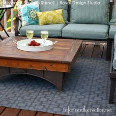 DIY Floor Rug Mat Painted with Stencils - Stenciling with Modern Retro Geometric Squares Stencils