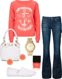 A salmon colored anchor shirt, skinny bellbottom jeans, white TOMS, and super cute matching accesories!