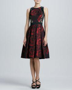 CARMEN MARC VALVO Sleeveless Full-Skirt Cocktail Dress