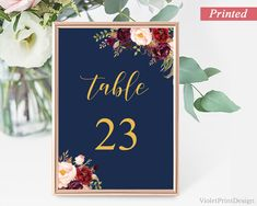 Navy Marsala and Gold Floral Wedding Table Number Card. Burgundy Flower Maroon Calligraphy Table Number Card. Head Table Card. Free Shipping http://etsy.me/2HPBMno #weddings #invitation #blue #gold #printed #calligraphy #freeshipping #table #number