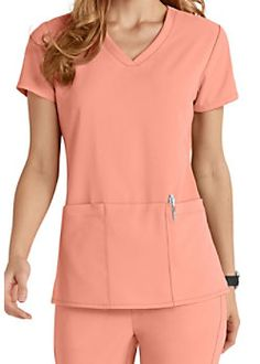 Grey's Anatomy Signature 3 Pocket Criss Cross V-neck Scrub Tops Cute Scrubs Uniform, Scrubs Outfit, Greys Anatomy Scrubs, Greys Anatomy Uniforms, Stylish Scrubs, Iranian Women Fashion, Medical Uniforms, 4 Way Stretch Fabric, Medical Scrubs