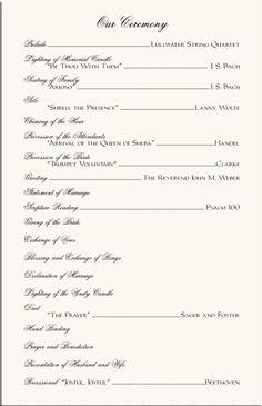 wedding programs sample one page | mkdphoto.com | Wedding ...