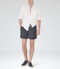 Reiss Brother Men's Black/white Dot Swim Shorts