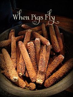 Cinnamon  and beeswax dipped corn cobs.